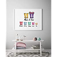 Wellies Family Personalised A4 White Framed Print