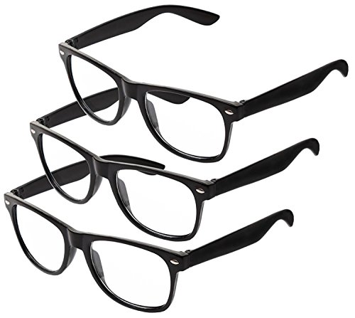 Nerd Sonnenbrille im Wayfarer Stil Retro Vintage Unisex Brille - Boolavard TM (3 Paare Schwarz Klar)