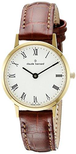 Claude Bernard Men's 20201 37J BR Gents Slim Line Analog Display Swiss Quartz Brown Watch