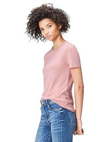 FIND Damen T-Shirt Crew Neck Rosa, 36 (Herstellergröße: Small) (Rosa T-shirt Leben Damen)