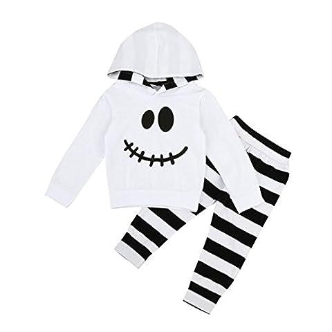 Bekleidung Longra Kleinkind Baby Junge Kid Streifen Print Pullover Hoodie Sweatshirt Tops + Hosen Kapuze Kleidung Outfits Set (0 -24 Monate) (90CM 18Monate, White)