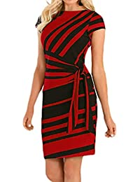 1fa62d3a6ccb6b Kleid damen Kolylong® Frauen Elegant Gestreiftes Business Kleid Vintage  Kurzarm Bleistift kleid mit Gürtel Festlich…