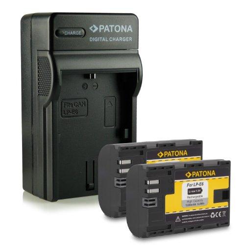 Novità - 4in1 Caricabatteria + 2x Batteria come LP-E6 LPE6 con Infochip · 100% compatibile con Canon EOS 5D Mark II | 5D Mark III | 6D | 7D | 60D | 60Da
