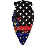 Miedhki Indiana dünne rote Linie Flagge USA Gesichtsmaske Hals Gamaschen Bandana Schal Sturmhaube Multifunktionale Kopfbedeckung für Outdoor-Sportarten