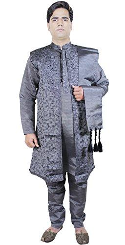 Abbigliamento maschile 4 pezzi Sherwani manica lunga Kurta pigiama Stole set black Taglia S