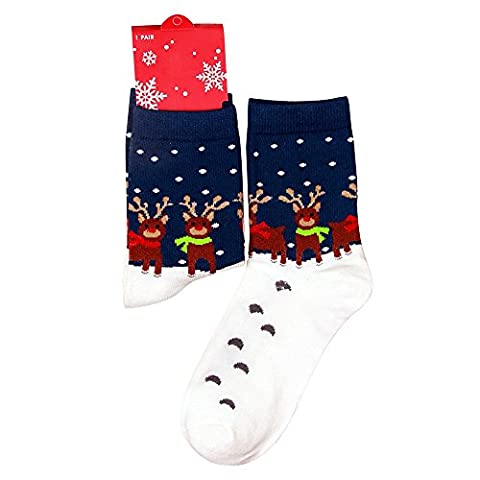 Eizur 1 Pair Women Christmas Socks Cotton Rich Santa Snowman