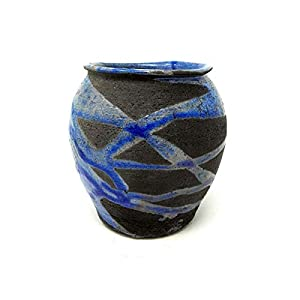 Dekorative Vase Japanische Keramik Raku Handgefertigte Farbe Kupfer und Schwarz, Einzelstück by Mosraku