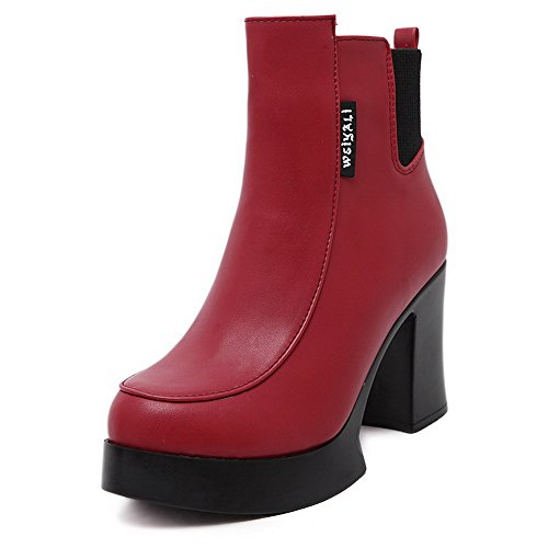 AgooLar Damen Rund Zehe Gemischte Farbe Niedrig-Spitze Hoher Absatz Stiefel mit Anhänger, Rot, 34