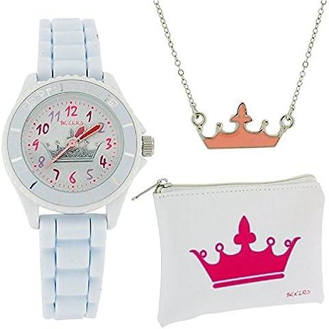 Tikkers Girls Motiff Orologio con quadrante bianco con corona, con portamonete ATK1009 & confezione regalo