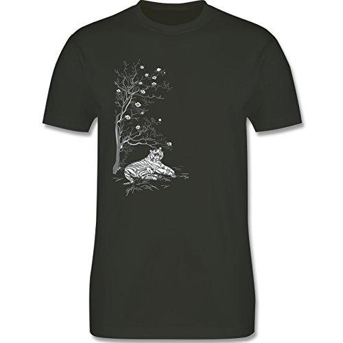 Vintage - Tiger Kirschblüten Baum - Herren Premium T-Shirt Army Grün