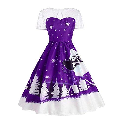 Vestito Donna Natale, BeautyTop Donna Annata Natale Maglia di stampa Corto Manica A-Line Vestito Viola