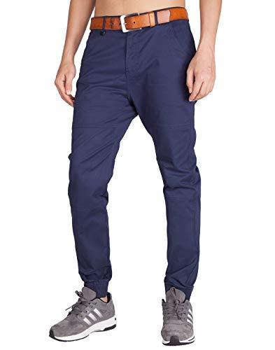 ITALY MORN Chinos Jogger Pantalon Navy Hombre Slim Fit para Trabajo 40, Azul Marino