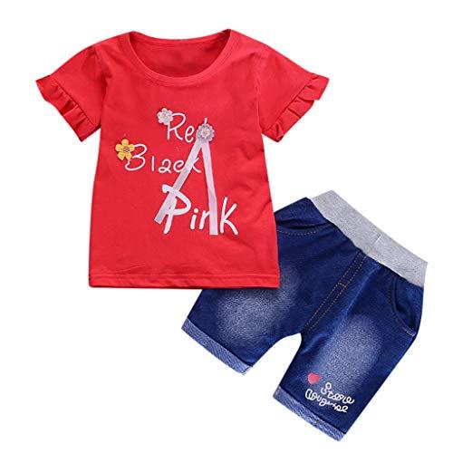 JUTOO Baby Mädchen Säugling einfarbig Blume T-Shirt Druck + Brief Denim Shorts 2tlg Set Outfits (rot-B,110)