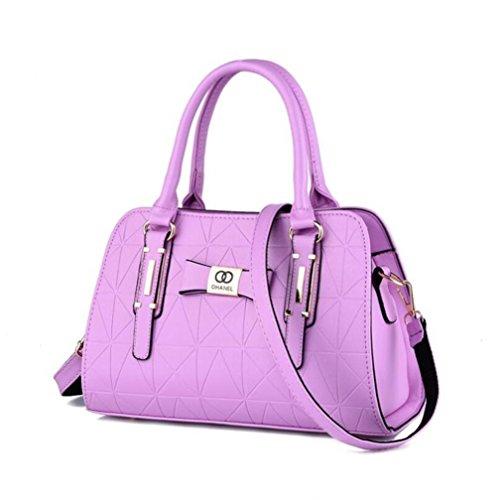 HQYSS Borse donna Le donne cuoio dell'unità di elaborazione di affari Tracolla Messenger leggero registrabile della borsa , silver purple