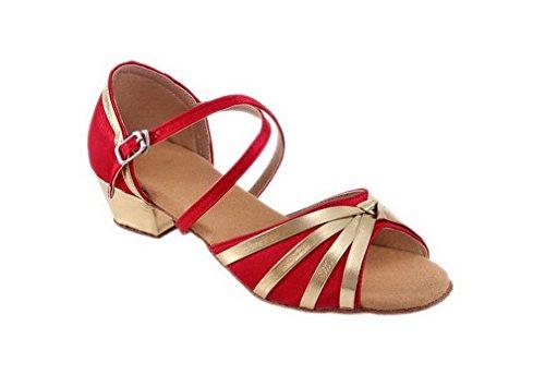 ELE GENS Mädchen Damen Tanzschuhe Standard Latein Ballsaal Salsa Schuhe Satin (32, Rot)