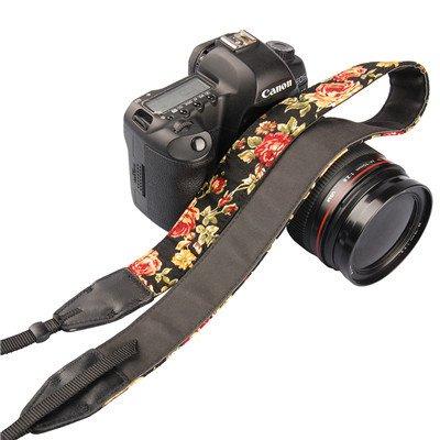 FLN Correa para cámara de fotos con fondo negro negra y diseño de flores ajustable de neopreno para DSLR Canon Fuji Fujifilm Leica Nikon Pentax Olympus Sony Panasonic Pentax Samsung Sigma - ADAPTOUT MARCA FRANCESA