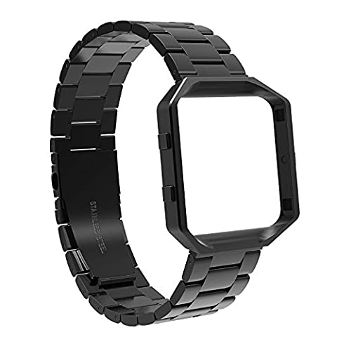 For Fitbit Blaze Bands with Metal Frame, SnowCinda Stainless Steel Watch Straps Replacement Accessory Band for Fitbit Blaze Smart Fitness Watch Large Small for Women Men Black