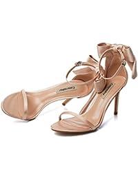 e5fb6cde75060 Sandali con fiocco in raso con un bottone sandali con dita scoperte  femminili fini con tacchi alti banchetti sexy con…