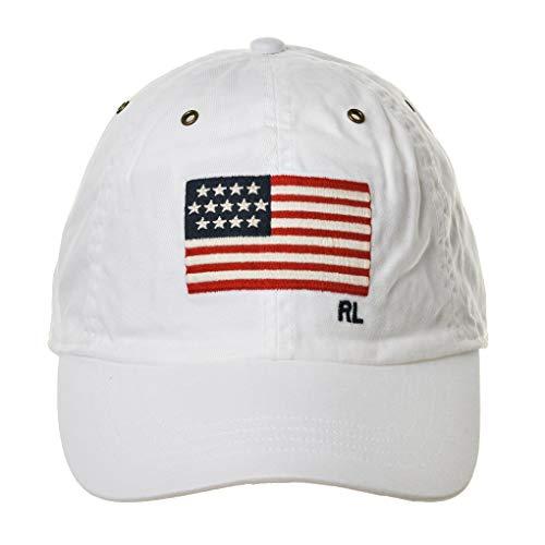 Polo Ralph Lauren Herren Cap - Baumwolle, One Size, Flagge (weiß)