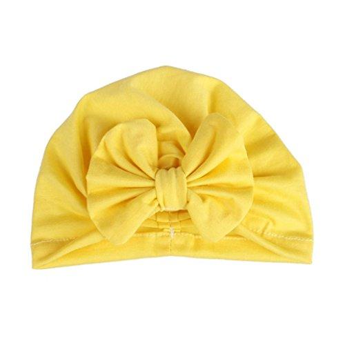 Fuibo Baby Sonnenhut, Baby-Mädchen-Bindungs-indischer Hut-Neugeborene elastische Bronzing-Punkt-Drucksicherungs-Kappe  Kinder Kappe Fischerhut Schirmmütze Strohhut (Gelb)