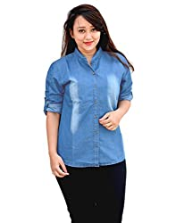 Aarti Collections Stylish Monkey wash print Light Blue Denim Shirt for Women