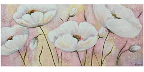 YS-Art Cuadro acrílico Las Flores queridas  Pintado a Mano   115x50 cm   Arte Moderno   Lienzo de Pared   único   Rosado
