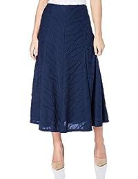 Roman Originals Women's Navy Skirt Textured Panel Midi | Sizes 10-20