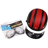 MagiDeal Moto Casque Bol avec Visière Lunettes de Protection Rétro - Rouge