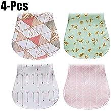Zoylink 4 Piezas Paños para Bebé Eructo 3 Capas De Algodón Suave Absorbente Toalla De Alimentación