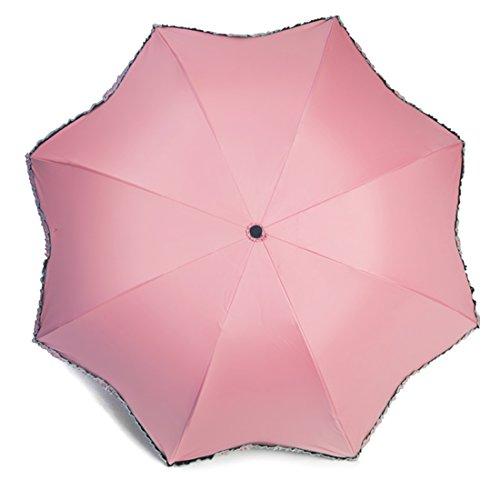 kilofly Sonnenschirm Regenschirm zusammenklappbar mit Volant, UPF 40+ taglia unica Pink (Bubbles Tasche Tote)