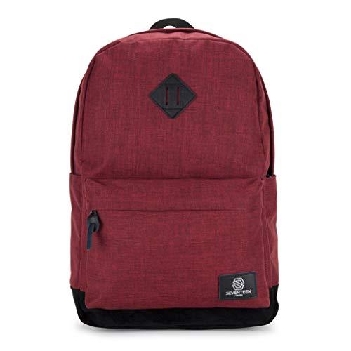 """Seventeen london – zaino moderno, semplice e unisex in rosso con una base di camoscio finto nero nello stile di uno zainetto di scuola – perfetto per un laptop da massimo 15,6"""""""