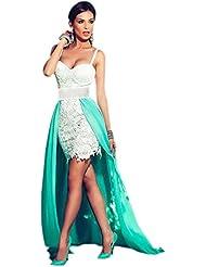 Nuevo color blanco Crochet y verde larga cola vestido de fiesta noche cóctel club vestido de fiesta tamaño L UK 12