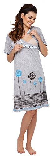 Zeta Ville Maternité Nuisette grossesse Chemise de nuit allaitement femme - 135c Turquoise