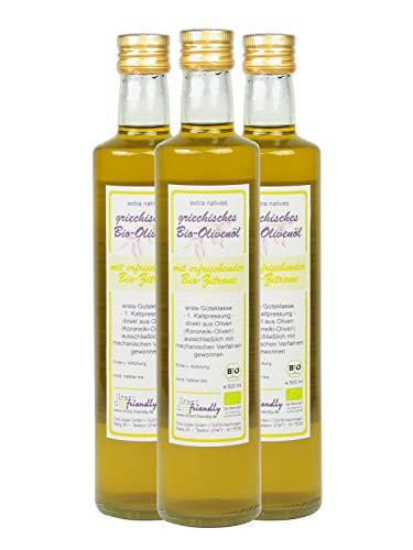 direct&friendly Bio Olivenöl Griechenland mit Bio Zitrone (3 x 500 ML)