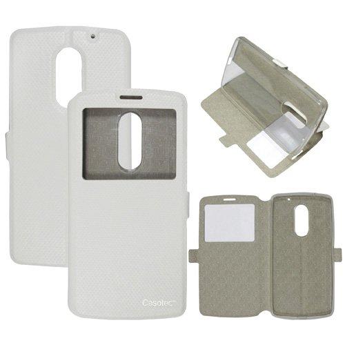 Casotec Premium Kickstand Caller-id Flip Case Cover with Snap Button Closure for Lenovo Vibe X3 - White