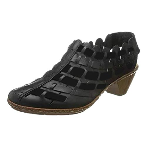 Makefortune2019 New Look Damen Round Toe Kunstleder Stacked Heel Western Ankle Bootie Closed Toe Sling Back Kurze Stiefel Weaving Design -