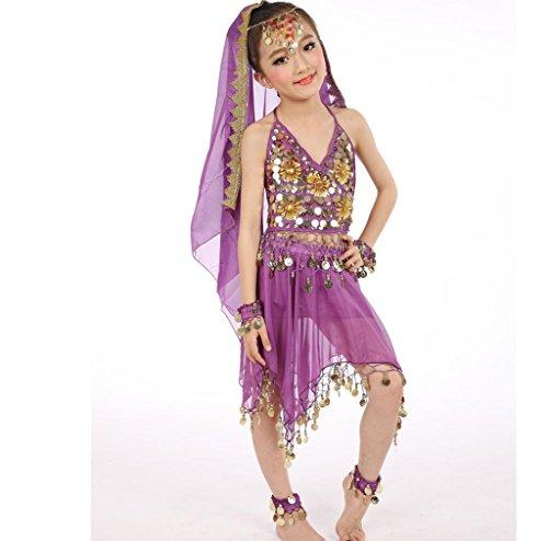 Wgwioo Kinder Kleider Sets Kostüme Indien Mädchen Bauchtanz Zubehör Karneval Performance Kleid Glänzend School , 2