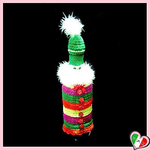 Copribottiglia colorato con babbo natale per bottiglia di vino all'uncinetto - dimensioni: 28 cm h - handmade - italy