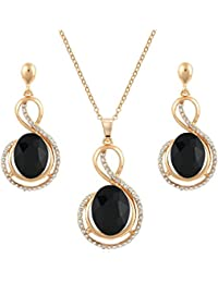 Crunchy Fashion Jewellery Gold Plated Stylish Party Wear Crystal/Zircon Pendant Necklace, Earrings Set For Women...