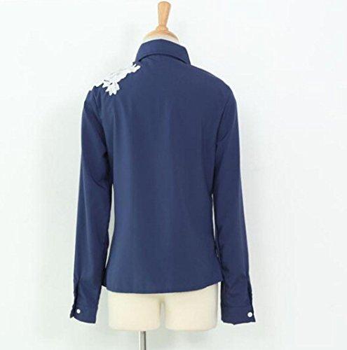 Smile YKK Femme Chemise Tops Shirt Imprimé Fleur Uni Bleu