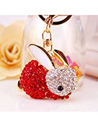 Banggood ELECTROPRIME Crystal Keyring Charm Pendant Bag Key Ring Chain Keychain Red Rabbit