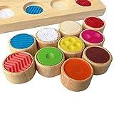 Waroomss Holzpuzzle Pädagogisches Spielzeug Kinder Gummi Holzspielzeug für Baby Farbenerkennung