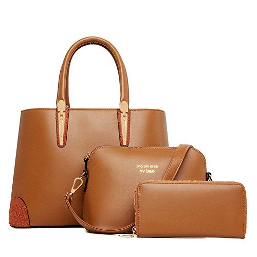 fanhappygo Fashion Retro Leder Damen Schulterbeutel Umhängetaschen clutch Abendtaschen a set braun