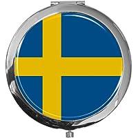 """metALUm - Extragroße Pillendose in runder Form""""Flagge Schweden"""" preisvergleich bei billige-tabletten.eu"""