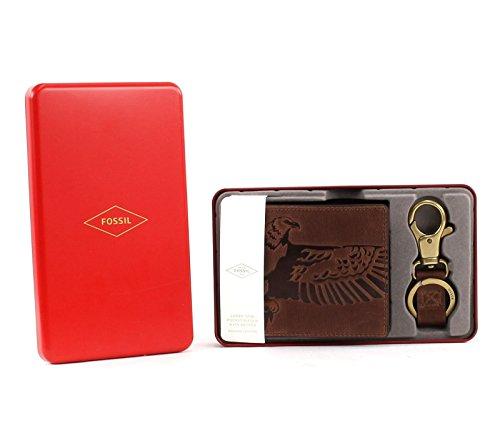 576b2b37451cf Fossil Geldbörse Eagle Gift Coin Pocket Box Braun ML3835 Herren RFID  Geldbeutel Portemonnaie Geldbeutel Set