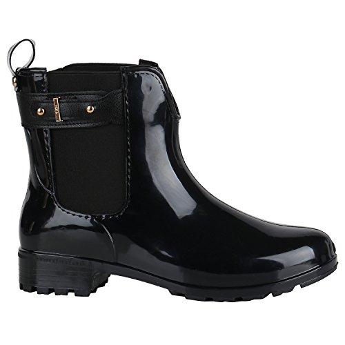 Stiefelparadies Bequeme Damen Stiefeletten Gummistiefel Lack Schuhe 144483 Schwarz Schnallen 36 EU Flandell
