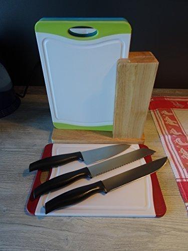 Set Schneidebretter Schneidebrett Hackbrett 3er Set Ständer Messerblock antibakteriell Microban® Beschichtung - sehr hochwertig verarbeitete Markenqualität, absolut rutschfest, in HACCP Standardfarben rot grün und blau - 3 Hackbretter + 3 Messer inklusive Ständer