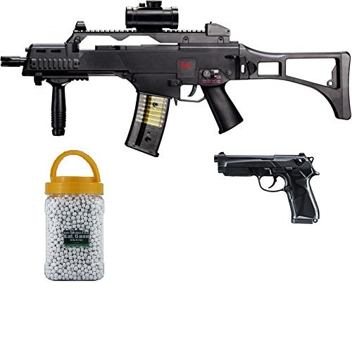SET: HK Heckler & Koch G36 C AEG ELEKTRISCH Softair Gewehr + Softair Pistole Beretta 90 two Federdruck + G8DS PREMIUM BIO BB Softairkugeln weiß 6mm 0,20g 5000 BBs