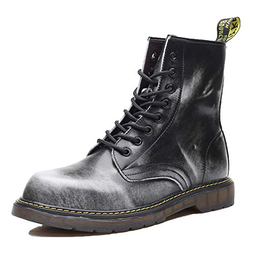 Stivali Antinfortunistici Mens Scarpe da Ginnastica Scarpe da Ginnastica Martin Stivali in Pelle Impermeabile Deserto Vintage Stivali Militari,Grey-46