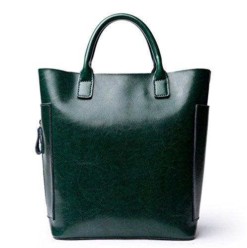 Xinmaoyuan Damen Handtaschen Leder Bucket Bag Wild Casual Bag einfach Schulter diagonal überquert Leder Handtasche Damen Tasche, Grün (Leder Handtasche Bestickt)